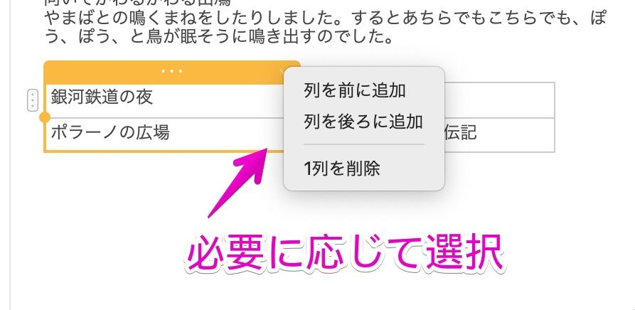 Macの「メモ」で、列や行の操作