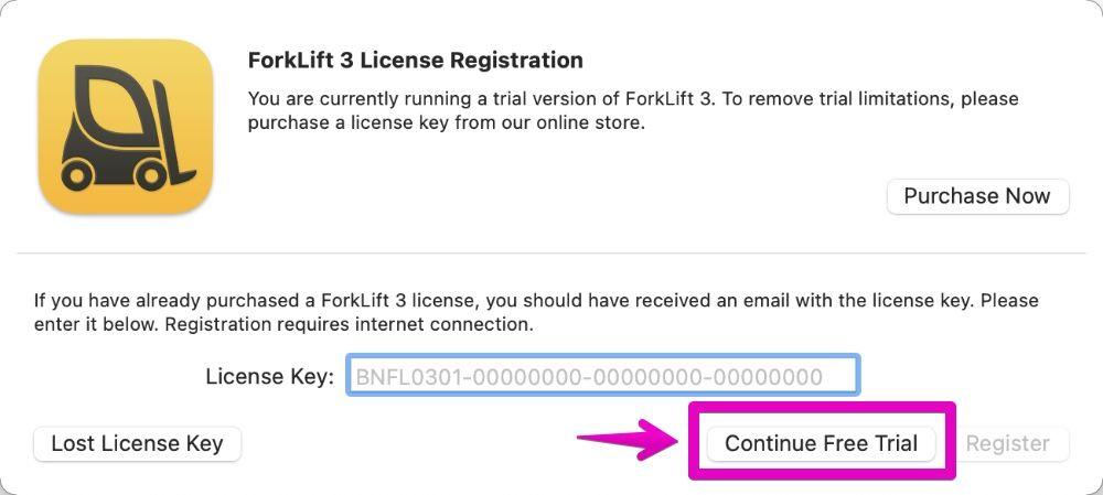 ForkLift3起動のダイアログボックス