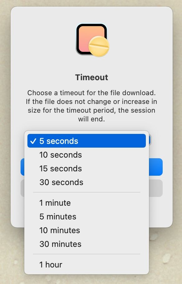 """Amphetamine"" file download timeout setting"