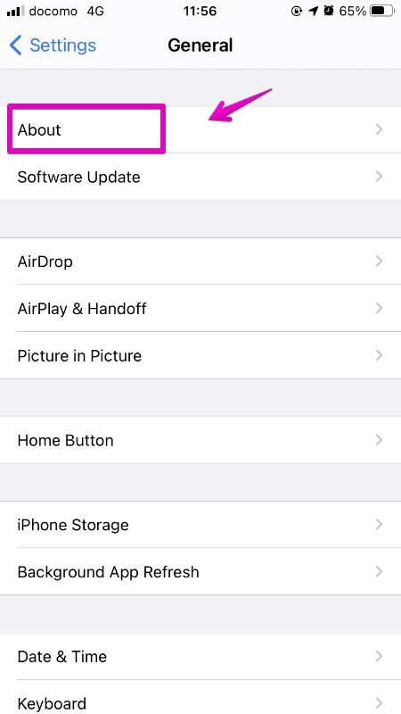 iPhone Settings App 「General」-「About」