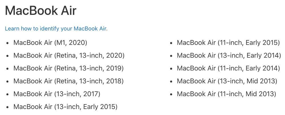 macOS Big Sur compatible models on MacBook Air