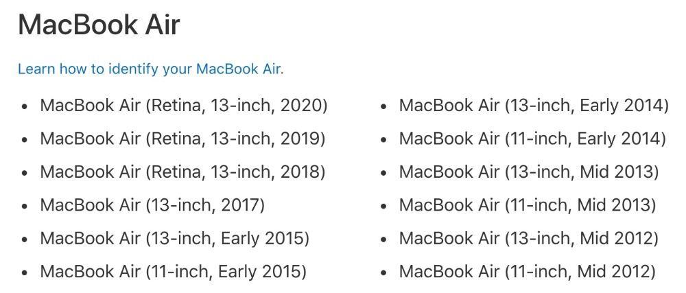 macOS Catalina is compatible with these MacBook Air models