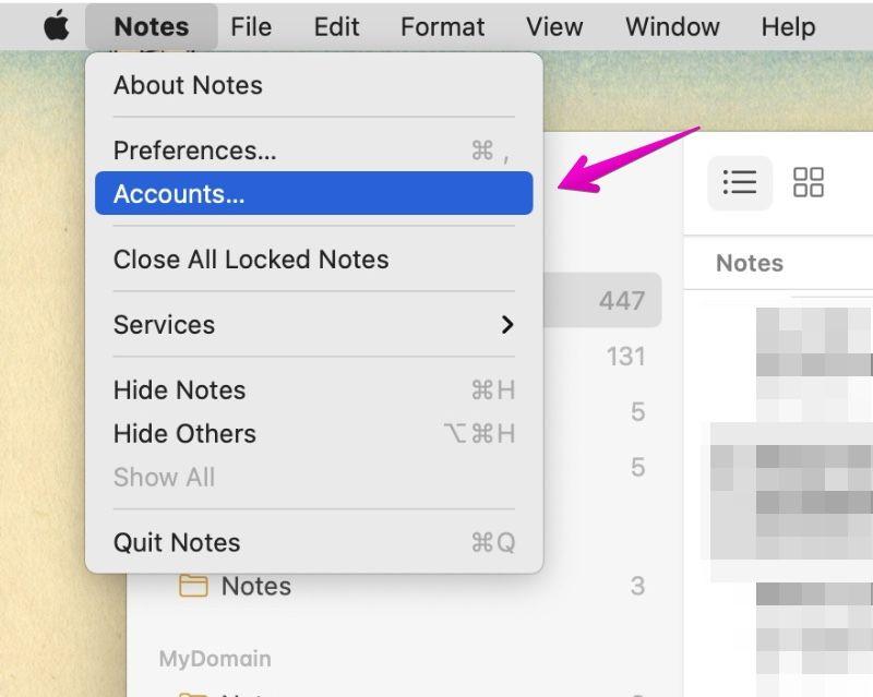 """Mac Notes """"Accounts"""""""