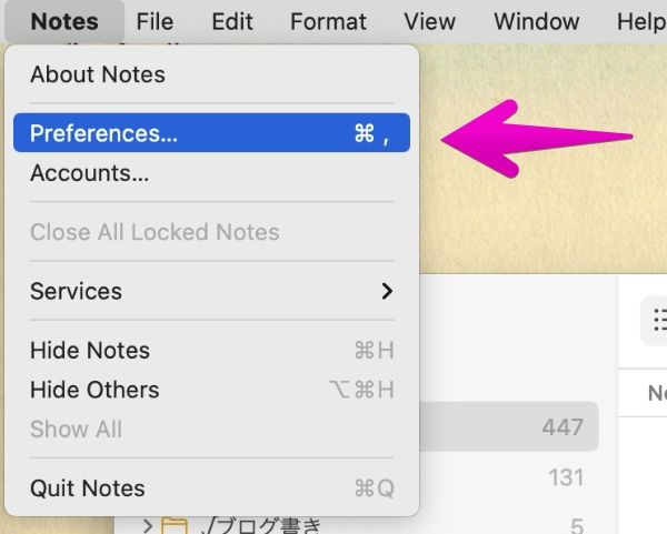 """""""Notes"""" preferences"""