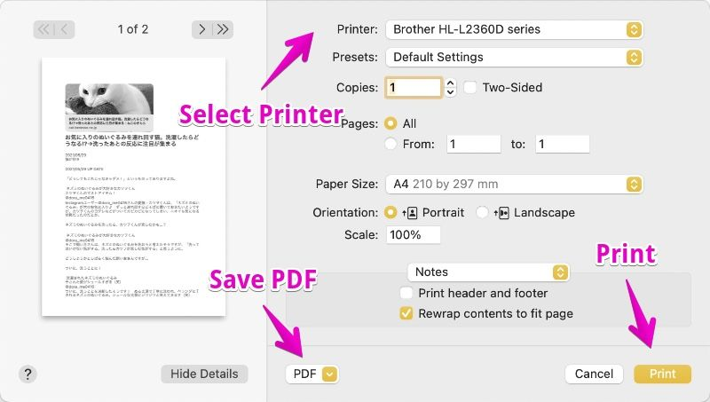 "Mac ""Notes"" Print / Save PDF"