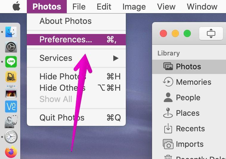"Mac ""Photos"" menu bar ""Preferences..."""
