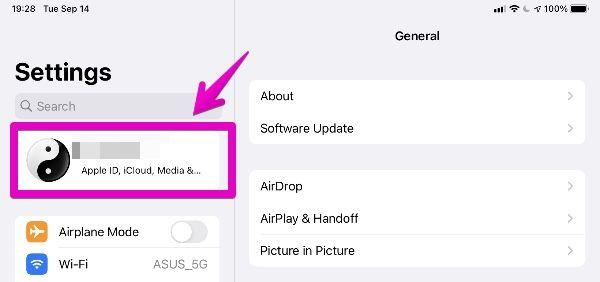 """iPad """"Settings"""" - """"Apple ID"""""""
