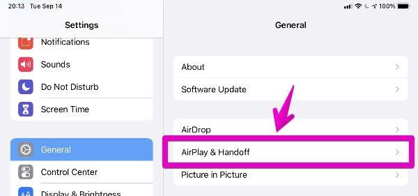 """iPad """"Settings"""" - """"Handoff"""""""