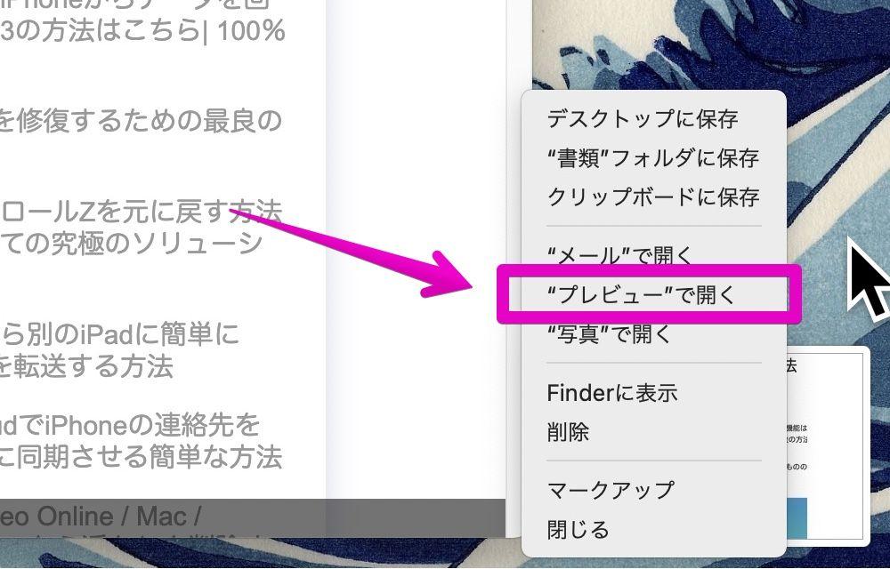 Mac screenshot thumbnail
